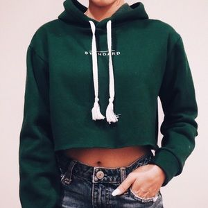 """""""STANDARD"""" embroidered cropped hoodie"""
